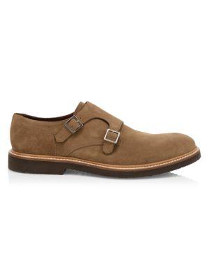 Suede Double Monk-Strap Shoes