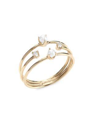 14K Yellow Gold, 2MM Pearl & Diamond Triple-Band Ring