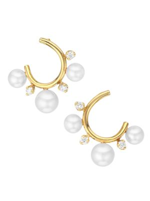 Small 14K Yellow Gold, 2MM Pearl & Diamond Front-Facing Hoop Earrings