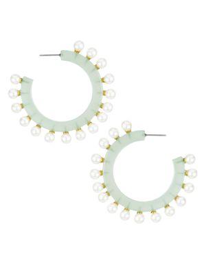 Faux Pearl-Lined Block Hoop Earrings