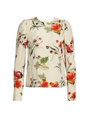 Floral Tie-Back Silk Blouse