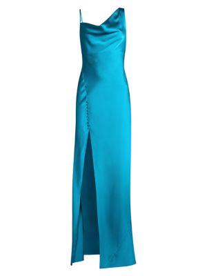 Justine Draped Bias-Cut Satin Gown