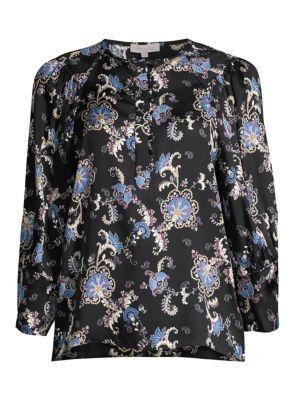 Paisley Silk-Blend Long-Sleeve Blouse