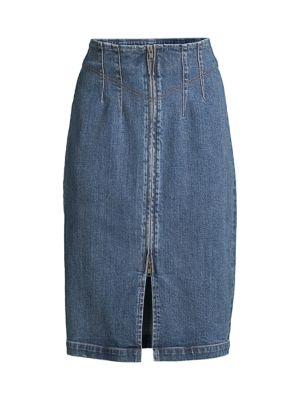 LV Denim Midi Skirt
