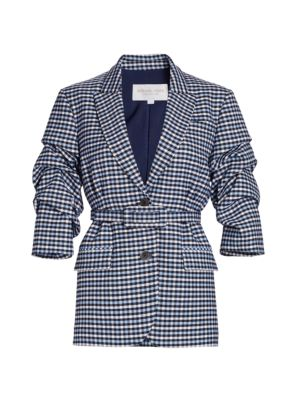 Crushed-Sleeve Fitted Plaid Blazer