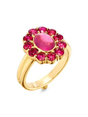Dreamcatcher 18K Yellow Gold, Ruby & Pink Tourmaline Ring