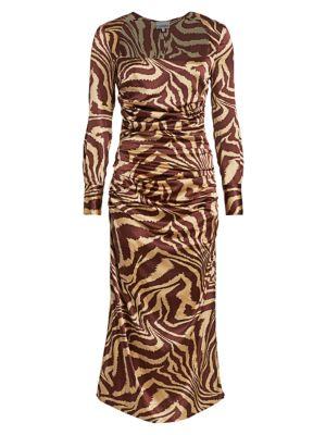 Zebra Silk Stretch Midi Dress