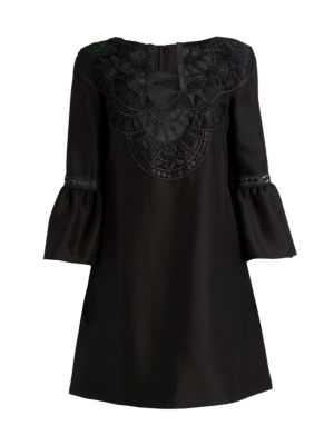 Bell-Sleeve Embroidered Tunic Dress