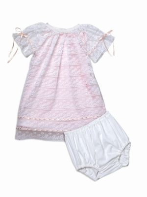 Baby Girl's 2-Piece Poem Lace Bishop Dress With Bloomers