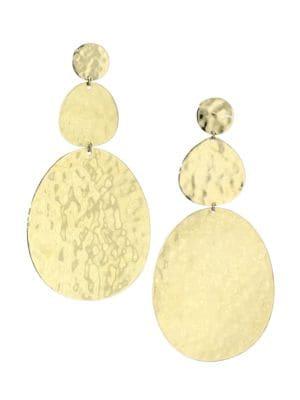 Classico Large 18K Yellow Gold Crinkle Snowman Drop Earrings