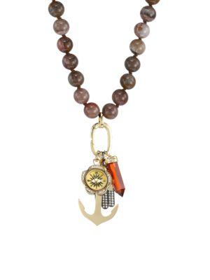 Wood Bead & Diamond Charm Long Necklace