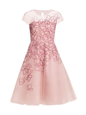 Butterfly-Beaded Tulle Cocktail Dress