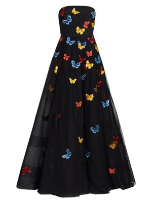 Embroidered Butterflies Strapless Gown