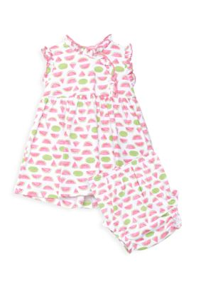 Baby Girl's 2-Piece Whimsical Watermelons Dress & Bloomers Set