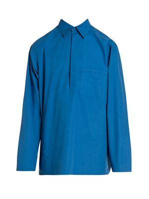 Half-Placket Cotton Poplin Polo Shirt