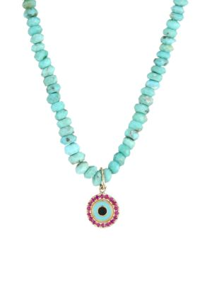 Small Arizona Turquoise Bead, Ruby & Enamel Evil Eye Charm Necklace