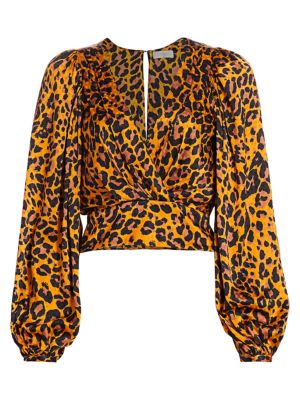 Eugina Leopard Print Puff-Sleeve Top