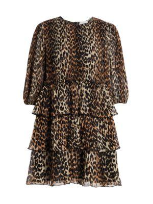 Pleated Georgette Leopard Ruffle Babydoll Dress