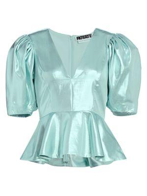 Mindy Puff-Sleeve Peplum Top