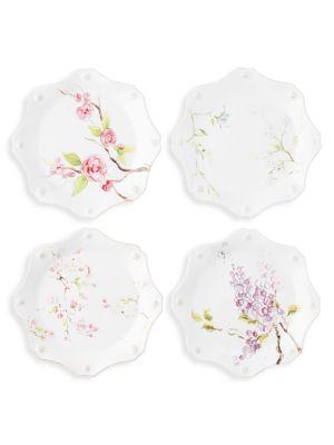 Berry & Thread Floral Sketch 4-Piece Dessert/Salad Plate Set