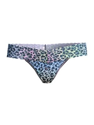 Rainbow Leopard Lace Low-Rise Thong