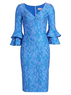 Cloque Bell-Sleeve Dress