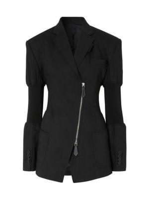 Asymmetric Tailored Rib-Cuff Jacket