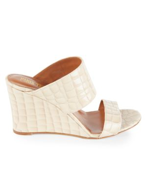 Patent Croc-Embossed Leather Wedge Mules
