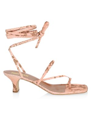 Ankle-Wrap Python-Embossed Leather Sandals