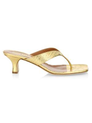 Metallic Croc-Embossed Leather Thong Sandals