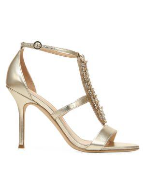Philomena Embellished Metallic Leather T-Strap Sandals