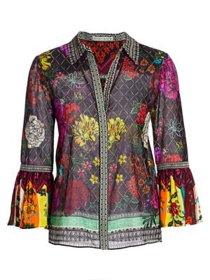 Rivera Floral & Diamond Print Silk-Blend Bell-Sleeve Blouse