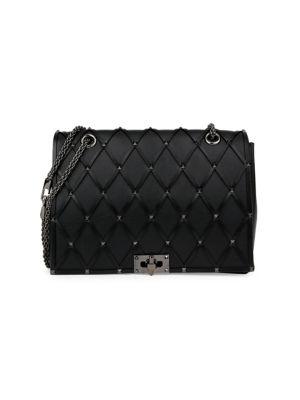 Valentino Garavani Beehive Studded Leather Shoulder Bag