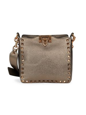Valentino Garavani Mini Rockstud Metallic Leather Hobo Bag