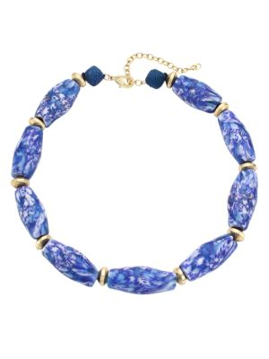 Marbled Glass & Raffia Statement Choker Necklace