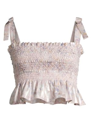 Riviera Smocked Cropped Top