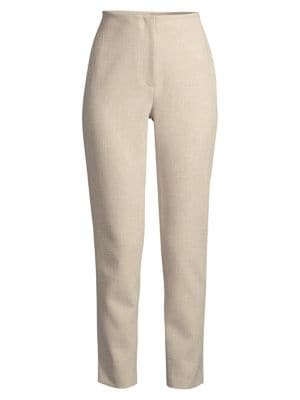 Straight-Leg Tweed Ankle Pants