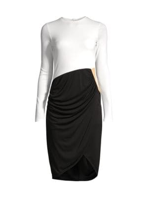 Contrast Draped Front Dress