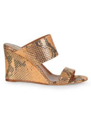 Lamé Python-Embossed Leather Wedge Mules