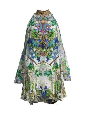 Moon Garden Neck-Tie Cold-Shoulder Dress