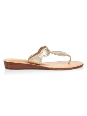 Jackie Whipstitch Metallic Leather Wedge Thong Sandals