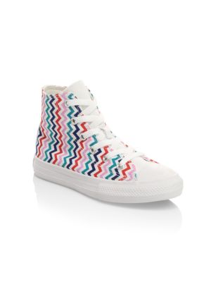 Girl's Multicolor Striped Hi-Top Sneakers