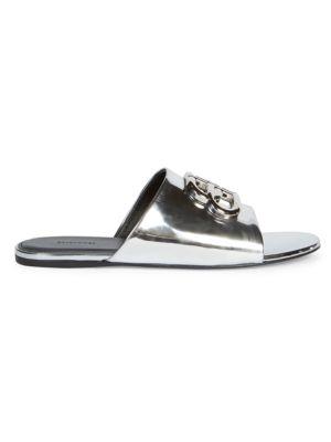 Oval BB Metallic Leather Sandals