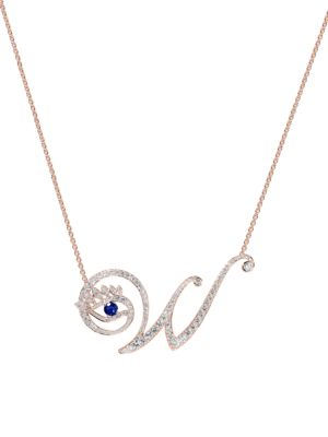 Eye 18K Rose Gold, Diamond & Sapphire Wise Pendant Necklace