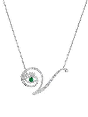 Eye 18K White Gold, Emerald & Diamond Victorious Pendant Necklace