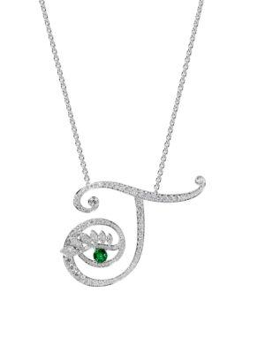 Eye 18K White Gold, Emerald & Diamond Transparent Pendant Necklace