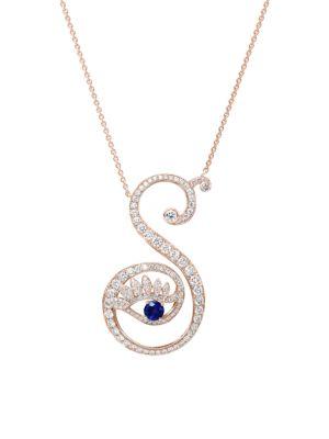 Eye 18K Rose Gold, Sapphire & Diamond Strong Pendant Necklace