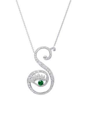 Eye 18K White Gold, Emerald & Diamond Strong Pendant Necklace