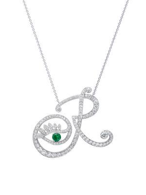 Eye 18K White Gold, Diamond & Emerald Romantic Pendant Necklace