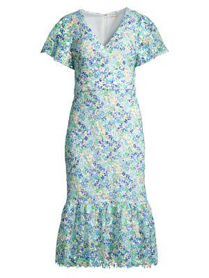 Audette Floral Flounce Dress